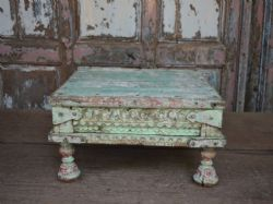 Antique decorative shrine table with original blue and green paint